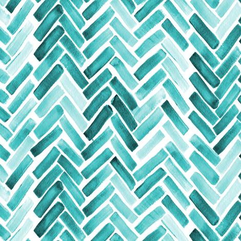 Mint  watercolor herringbone fabric by mrshervi on Spoonflower - custom fabric