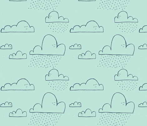 clouds cute faces in light blue fabric by j_schnaak on Spoonflower - custom fabric