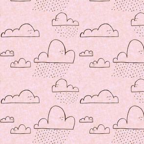 Clouds cute faces in blush