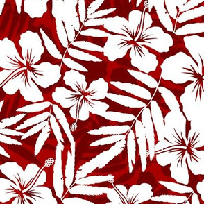 Red tropic flowers