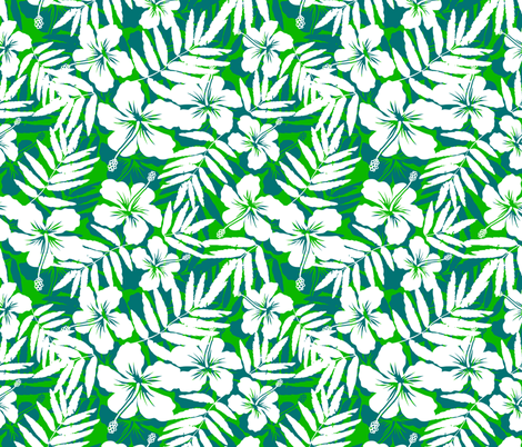 Green tropic flowers fabric by art_of_sun on Spoonflower - custom fabric