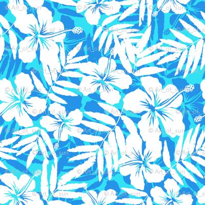 Blue tropic flowers