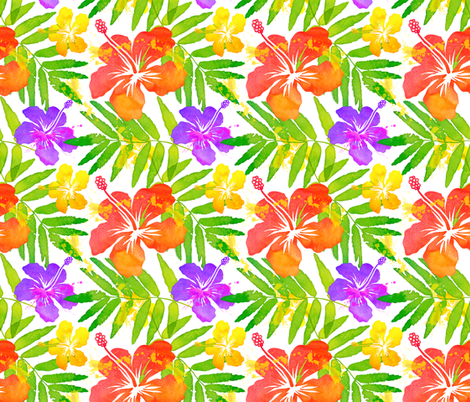 Bright colors tropic flowers fabric by art_of_sun on Spoonflower - custom fabric
