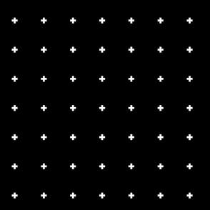 cross + white on black .5in wide