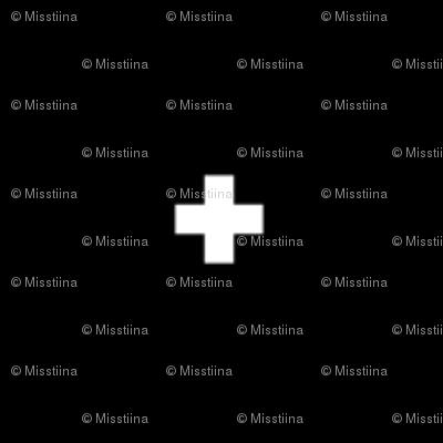 cross + white on black .25in wide