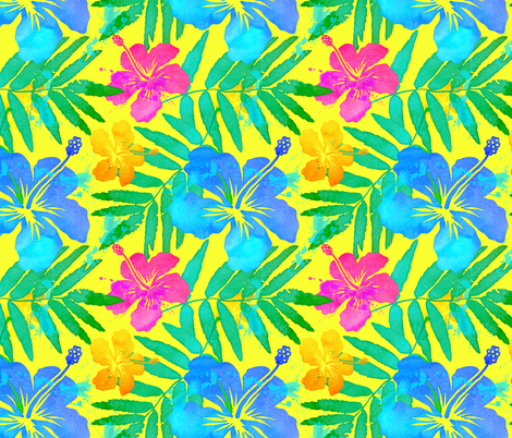 Vivid colors tropic flowers fabric by art_of_sun on Spoonflower - custom fabric