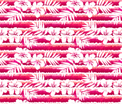 Pink stripes with tropic flowers fabric by art_of_sun on Spoonflower - custom fabric