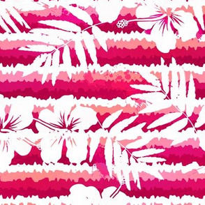 Pink stripes with tropic flowers