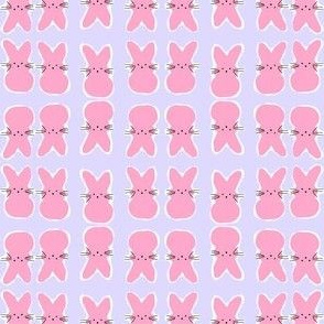 Small Pink Bunnies on Blue