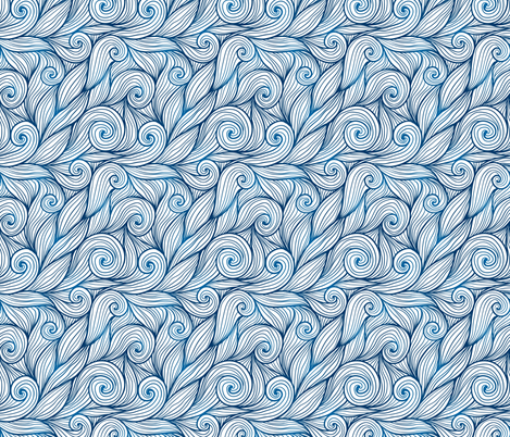 Blue curly waves fabric by art_of_sun on Spoonflower - custom fabric