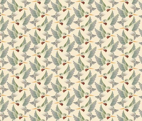 ruby throated hummingbird vintage fabric by hannafate on Spoonflower - custom fabric
