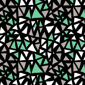 Dynamic Triangles Mint and Grey on Black