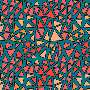 Dynamic triangles pinks on teal