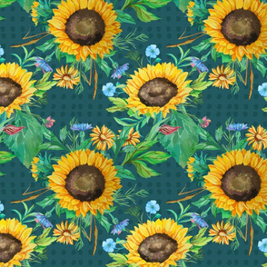 seamless_pattern_of_watercolor_sunflowers_with_small_flowers_and_green_leaves