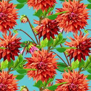 pattern_of_georgina_flowers_with_leaves