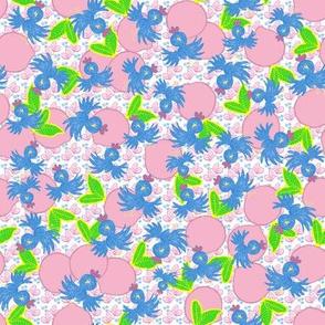 Pink Lemons & Bluebirds Scattered on Butterflies