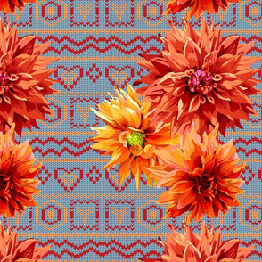 pattern_of_dahlia_flowers_with_horizontal_knitting