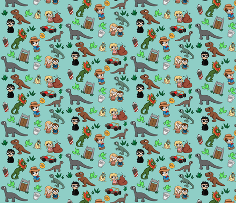 Jurassic Bits Blue fabric by studioadorkable on Spoonflower - custom fabric