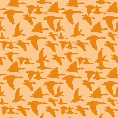 birds in flight peach and orange fabric by lburleighdesigns on Spoonflower - custom fabric