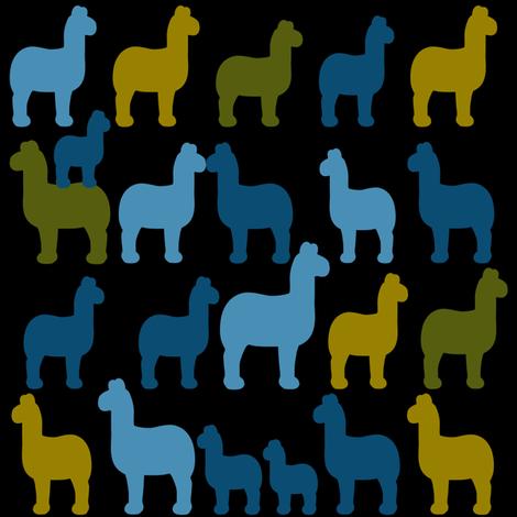 night llama fabric by artminx on Spoonflower - custom fabric