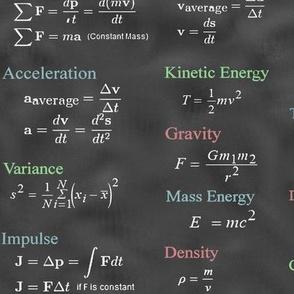 Physics Formulas in Chalkboard