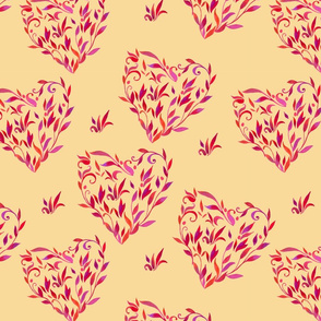 pattern_with_leaves_in_shape_of_heart