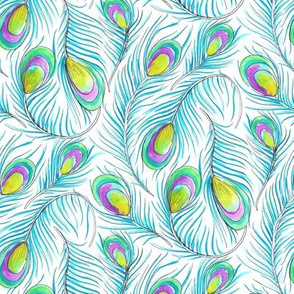 Peacock Feather Fabric Wallpaper Gift Wrap