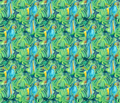 seamless_pattern_element_of_two_ara_parrots_and_leaves_of_monstera fabric by nadiiaz on Spoonflower - custom fabric