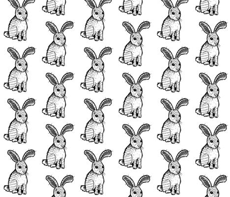 Bunny - Black and White fabric by taraput on Spoonflower - custom fabric