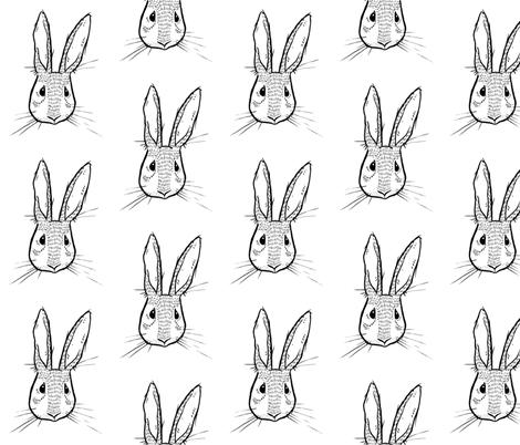 Sweet Rabbit - Black and White fabric by taraput on Spoonflower - custom fabric