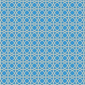 circles beige on blue