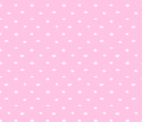 mini lips white on pink fabric by emmakisstina on Spoonflower - custom fabric