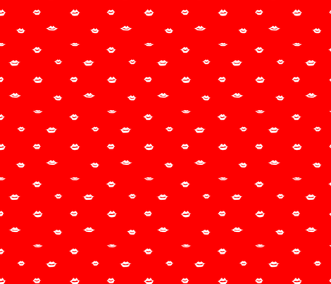 mini lips white on red fabric by emmakisstina on Spoonflower - custom fabric