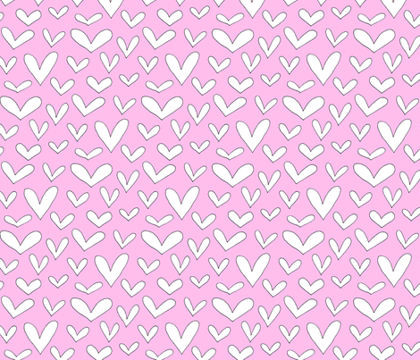 white hearts on pink fabric by emmakisstina on Spoonflower - custom fabric