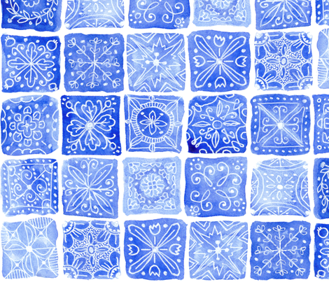 Blue Tiles fabric by kirsten_sevig on Spoonflower - custom fabric