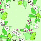 apple blossoms and honey bees