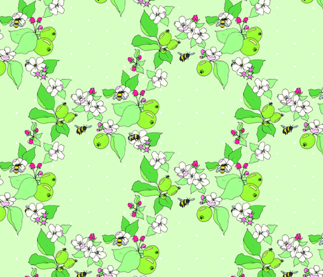 apple blossoms and honey bees fabric by emmakisstina on Spoonflower - custom fabric