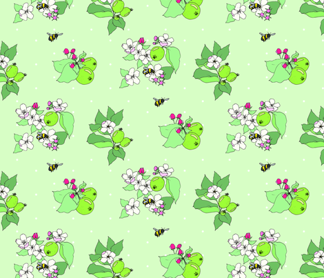 apple blossoms and honey bees simple fabric by emmakisstina on Spoonflower - custom fabric