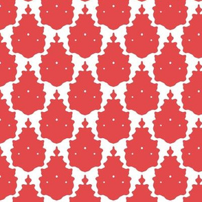 red white llama damask