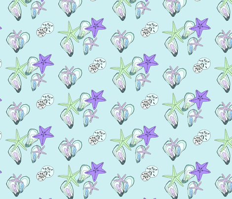 oysters and starfish fabric by emmakisstina on Spoonflower - custom fabric