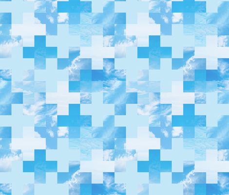Sky Grid + sky blue fabric by linkolisa on Spoonflower - custom fabric