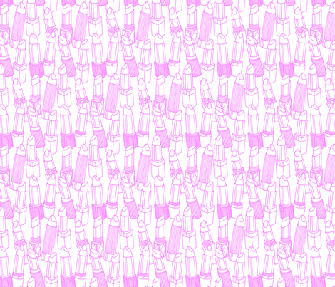 Pink Lipstick outlines fabric by emmakisstina on Spoonflower - custom fabric