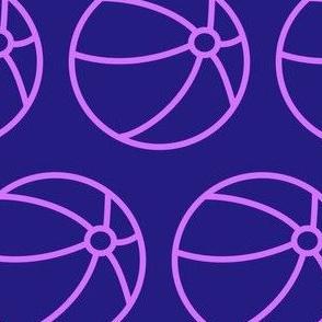 purple beach balls on blue