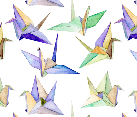 Origami Cranes - large fabric by emeryallardsmith on Spoonflower - custom fabric