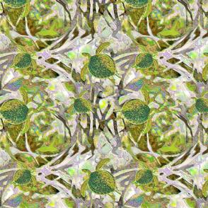 Chartreuse sea turtles