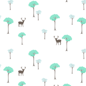 Trees and deer turquoise