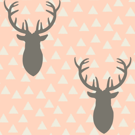 White and Pink and Gray Deer Heads Blush fabric by googoodoll on Spoonflower - custom fabric