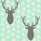White and Gray and Mint Deer Heads Triangles