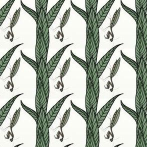 Watercolour Praying Mantis On Green Leaves