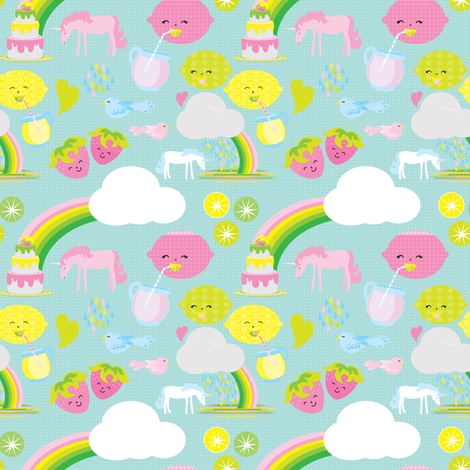 Unicorns with Lemonade and Rainbows fabric by mainsail_studio on Spoonflower - custom fabric